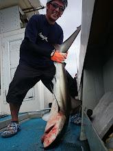 """Photo: 10kgオーバーでした! ・・・サメですが。 """"オオイシさん""""らしい結末でした。 もちろんリリース致しました。 前の二人の「ブレイク」も たぶんサメの仕業だと・・・"""