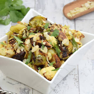 Roasted Brussels Sprouts & Cauliflower With Truffle Oil [vegan].