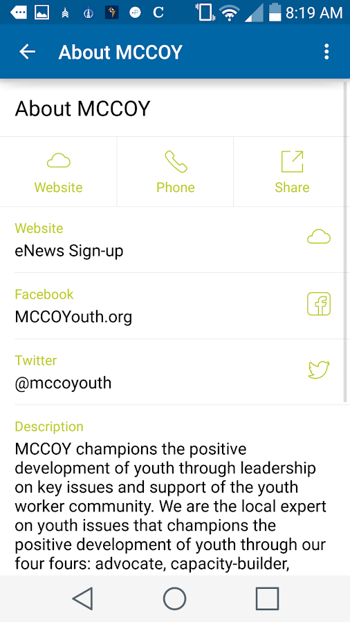 MCCOY Youth Activity Directory- screenshot