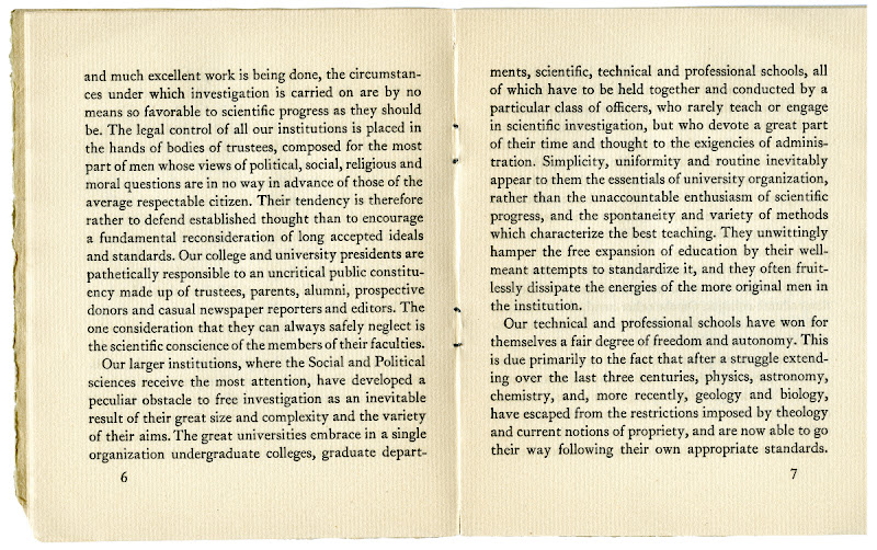 """Photo: pages 6 and 7 from """"A Proposal for An Independent School of Social Science"""". The New School first opened its doors in 1919."""
