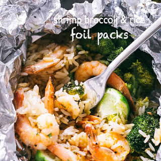 Shrimp Foil Packets with Broccoli and Rice.