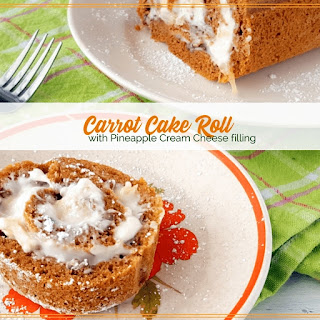 Carrot Cake Roll with Pineapple Cream Cheese Filling.