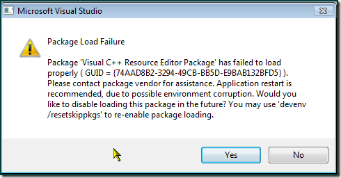 Package Load Failure