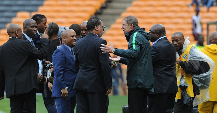 Stuart Baxter coach of South Africa with SAFA President Dr Danny Jordaan and Minister of Sports Thulas Nxesi during 2018 World Cup qualifier football match between South Africa and Burkina Faso on the 7 October 2017 at Soccer City, Johannesburg.