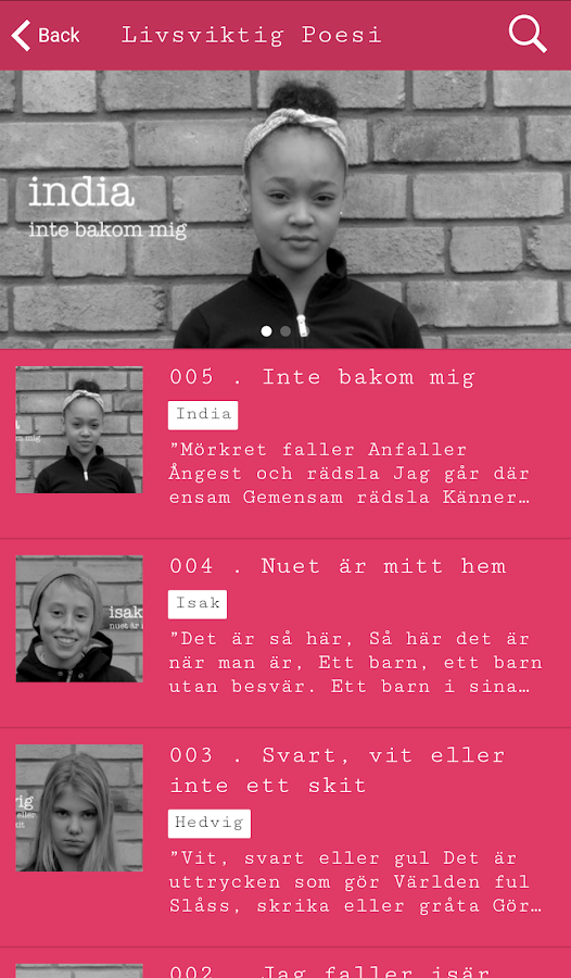 Livsviktig Poesi- screenshot