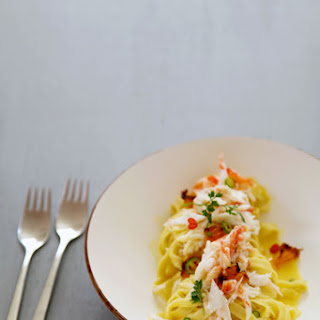 Tagliatelle with King Crab, Grilled Murcott Tangerines, Chili, and Lemon