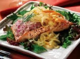 Chilled Salmon Salad With Orange Citrus Onions Recipe