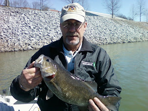 Photo: March 12, 2012 - Chris Miller with a bragging-sized smallmouth while fishing with Scenic City Fishing Guide Sam Simons.