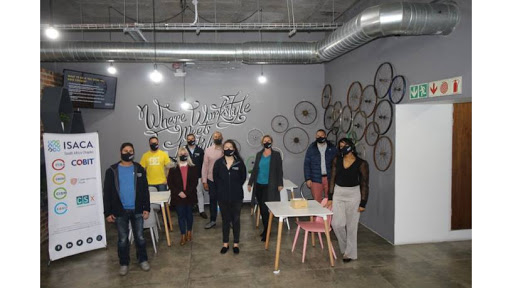 From left: At the Cape Town studio: Mahomed Osman, Rowan Parkerson, Esther van der Walt, Robin Williams, Sanjay Charavanapavan, Anri Veldman, Verity Price, Eugene May, Arlene-Lynn Volmink