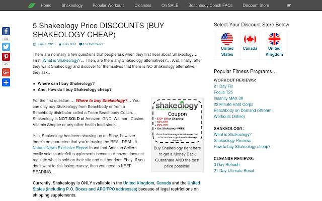 Buy Shakeology: Discount Price