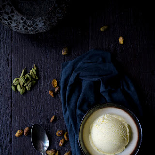 Cardamom Ice Cream with Spiced Candied Pistachios