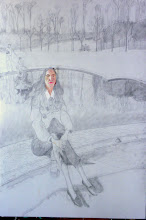 Photo: visage peint, dessin préparatoire fait sur la toile à peindre (mine de plomb 150*100) - Versailes, au bassin du Trianon