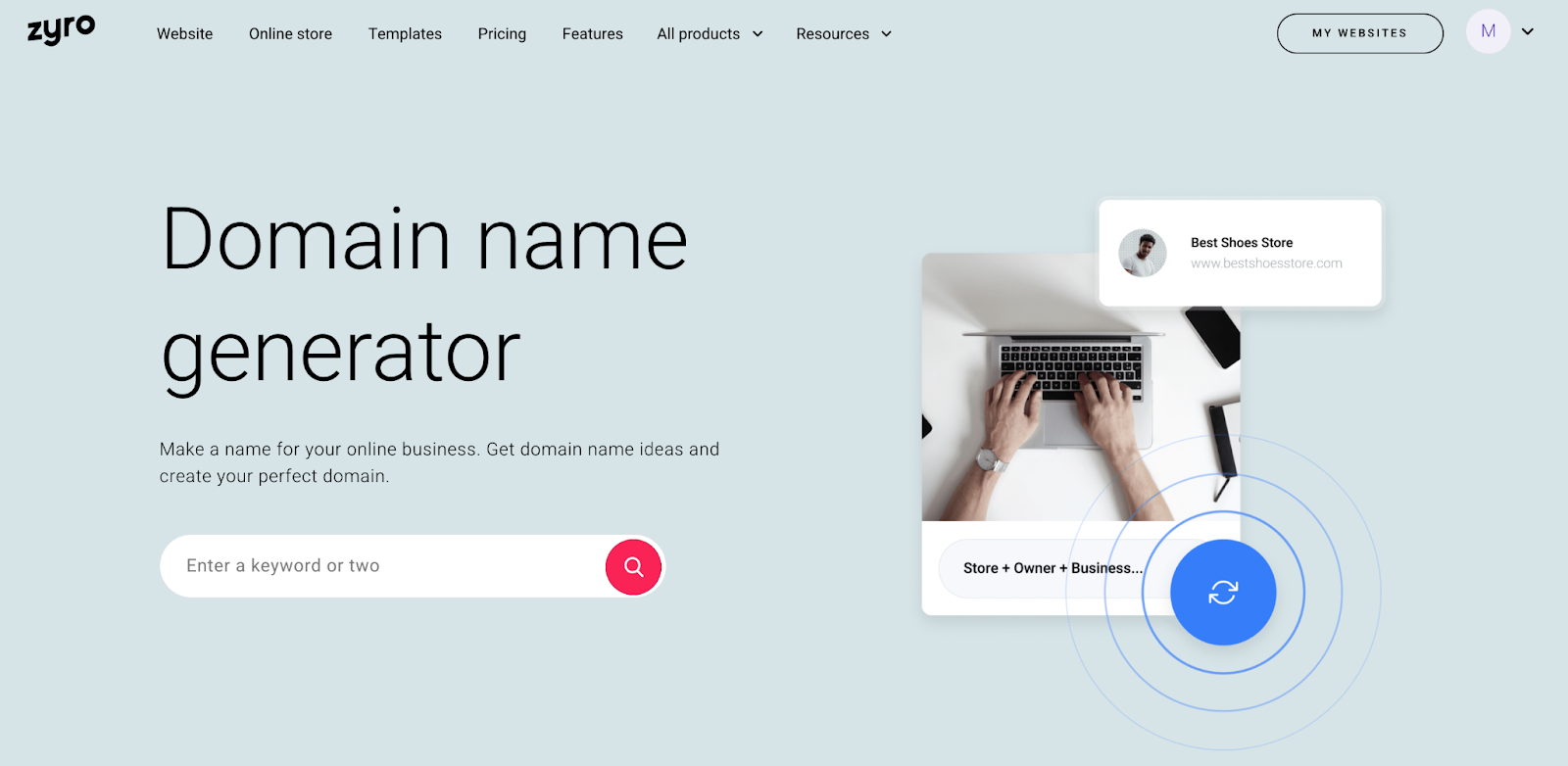 Zyro domain name generator landing page