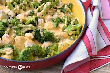 Chicken Broccoli Skillet with Pimento Cheese Sauce