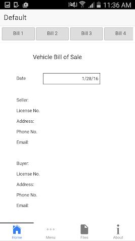 Bill of Sale Screenshot