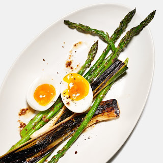 Blackened Leeks with Asparagus and Boiled Eggs.