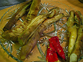 Photo: peeled grilled eggplant and peppers