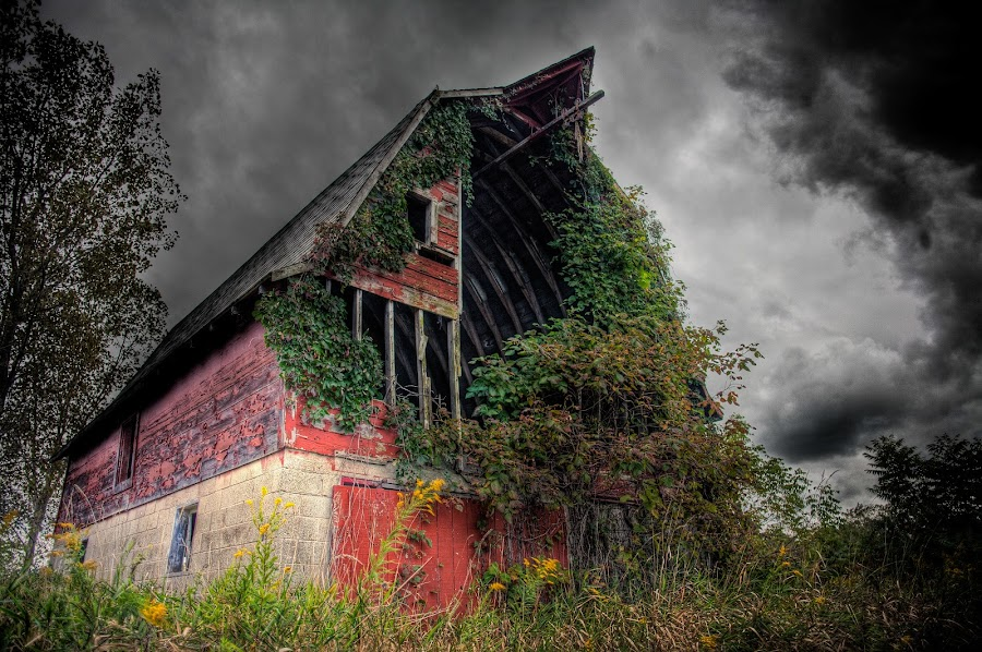 THE THUNDER ROLLED by Erin Watson - Buildings & Architecture Other Exteriors ( clouds, farm, nature, barn, erin watson photography, ruin, erin watson, storm, abandoned, decay )