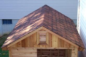 Photo: The shingles are done! Yours truly nailed down the ridge cap shingles all on her own! :)