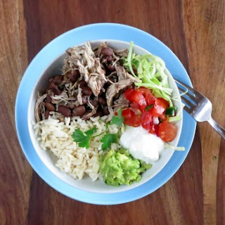 Pressure Cooker Chicken, Black Beans & Rice Burrito Bowl