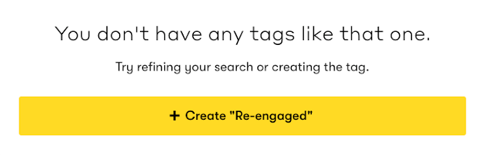 The prompt received when a Tag is not found.
