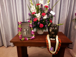 Photo: The funeral was excellent. I was honored to perform the eulogy, reflecting on this husband, father, grandfather, gardener, steelworker, and Husker fan. We brought the leis from Hawaii.