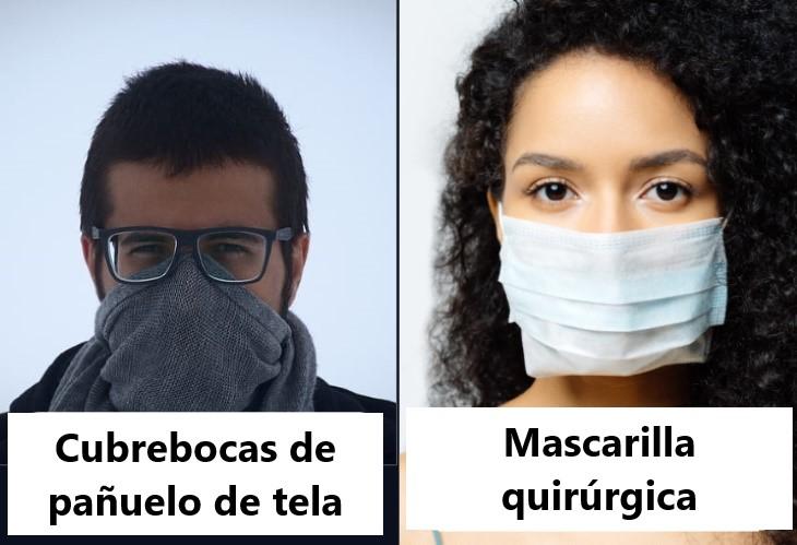 cubrebocas de pañuelo y mascarilla quirúrgica