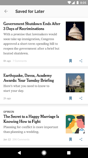 Screenshot 7 for The New York Times's Android app'