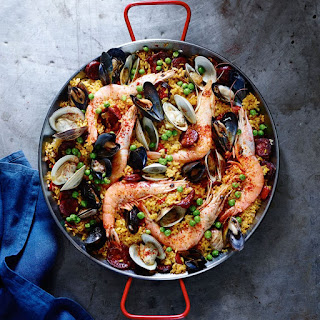 Spanish Paella with Chorizo and Seafood