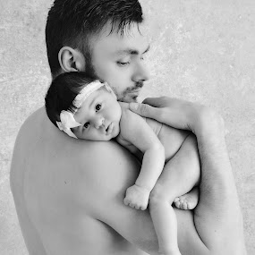 Father and daughter  by Love Time - People Family ( dad, family, black an white, daughter, adorable, cute, father )