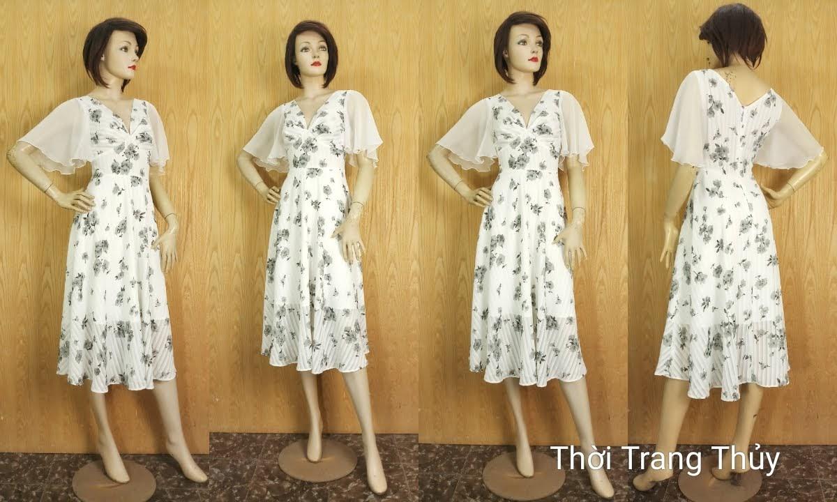 Váy Xòe dáng dài cổ V xếp nhún tay loe V675 thời trang thủy