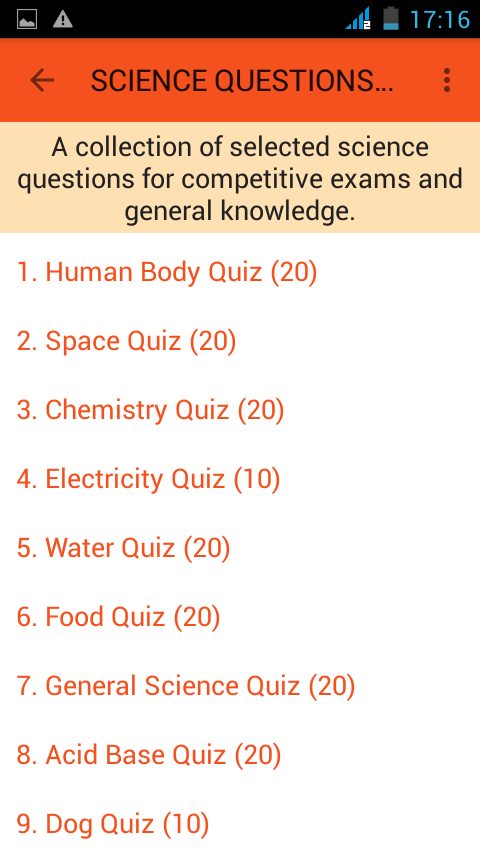 Science Knowledge Quiz