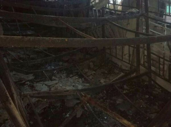 The charred interior of the religious school Darul Quran Ittifaqiyah after a fire broke out in Kuala Lumpur, Malaysia in this handout photo September 14, 2017.