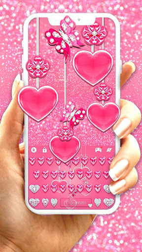 Pink Hearts Keyboard Theme screenshots 1