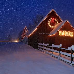 Sun Valley Barn by Tory Taglio - Landscapes Weather ( idaho, baldy, winter, tory taglio, snow, twilight, ketchum, pwcstorm, sun valley, sun valley barnsun valley )