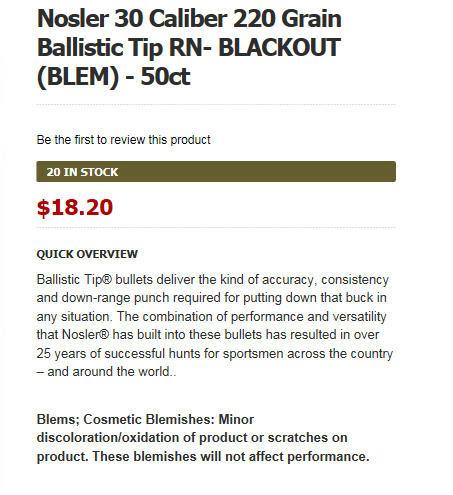 Nosler 30 Caliber 220 Grain Ballistic Tip RN-BLACKOUT - Page 2