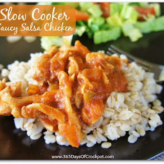 Recipe for Saucy Salsa Chicken (5-ingredient slow cooker meal)