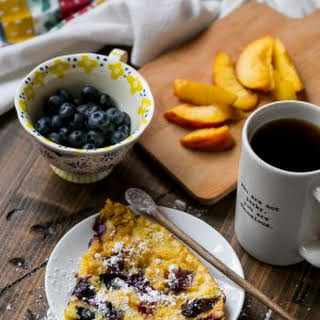 Peach Blueberry Dutch Baby Oven Pancakes.