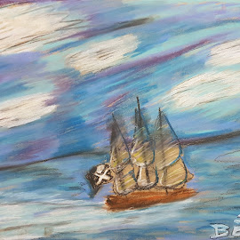 Pirate ship in the sea be BenaD by Benad Even-Chen - Painting All Painting ( pirate, ships, blue, nature, ship, clouds and sea, clouds, sea, creation )