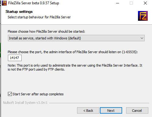 elegir el puerto de tu servidor ftp al instalar filezilla server