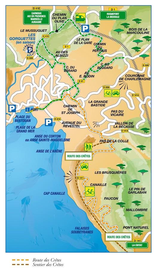 Карта маршрутов по Cap Canaille и Route des Crêtes - достопримечательности Кассиса (Cassis), Прованс, Франция
