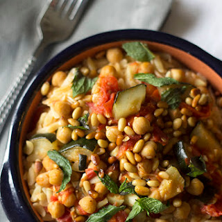Orzo with Tomato Braised Zucchini and Chickpeas.