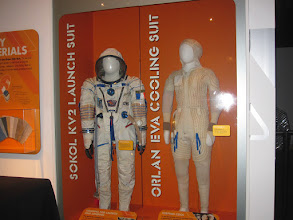 Photo: Russian suits... on left, the Sokol KV-2 and on the right, an under-garment with tubing for cooling water against the skin.  An Orlan suit would then be worn over this.