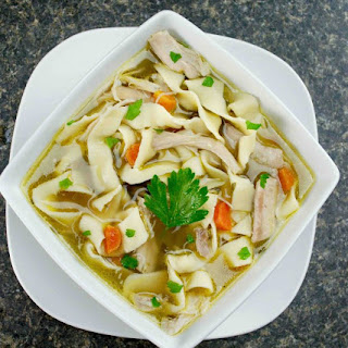 Homemade Chicken Noodle Soup with Homemade Noodles.