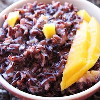 Black Rice Pudding with Mango and Cardamom.