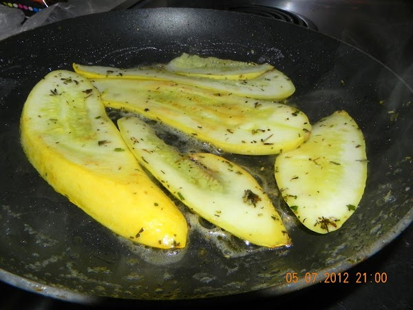 Saute your yellow squash in another pan and when cooked through set them aside...