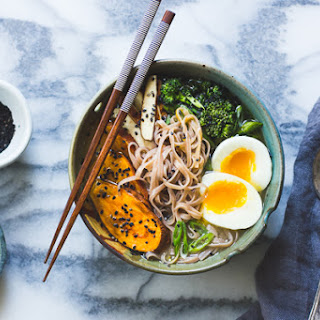 Miso + Rice Noodle Soup with Sesame Roasted Sweet Potatoes + Broccolini.