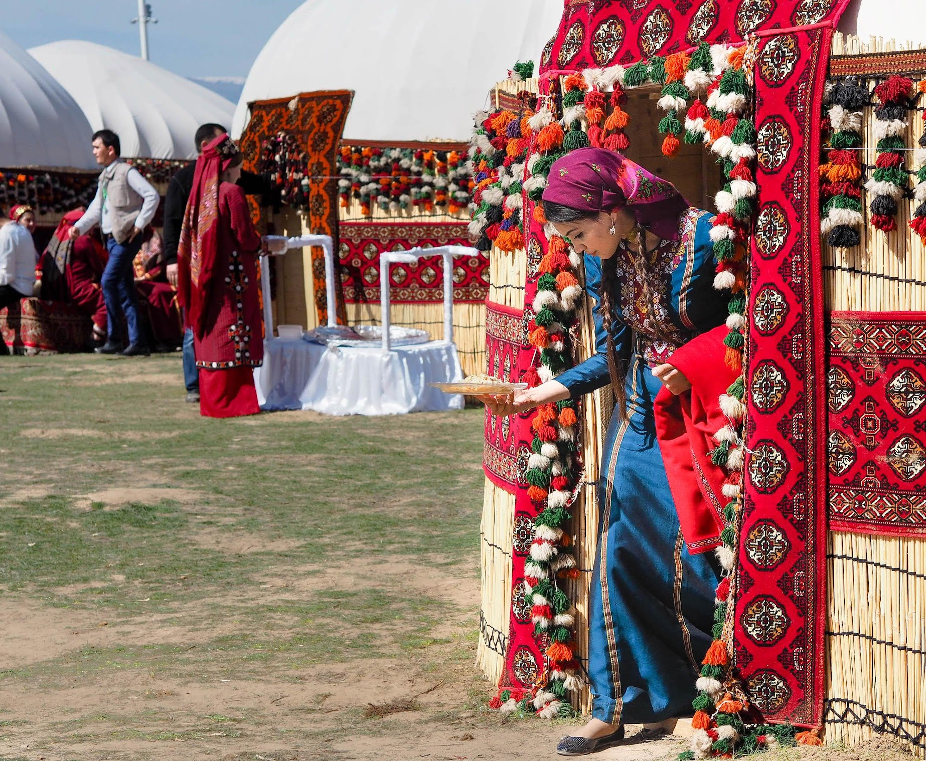 Colorful yurts at Nowruz Festival