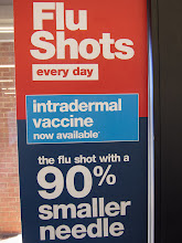 Photo: Project 365 Day 294-90 Percent Smaller Needle  The sign on the door at my local CVS drugstore trumpets the new smaller needle that is used for the flu shot that I got today.