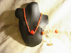 Photo: <BEREHYNYA> {Great Goddess Protectress} unique one-of-a-kind statement jewellery by Luba Bilash ART & ADORNMENT  Red coral, 14k gold vermeil SOLD/ПРОДАНИЙ